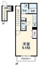 名鉄名古屋本線 山王駅 徒歩5分の賃貸アパート 2階1Kの間取り