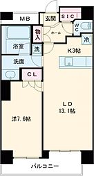 JR山手線 五反田駅 徒歩6分の賃貸マンション 12階1LDKの間取り