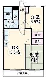 ハッピーマンション 3階2LDKの間取り