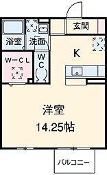 名鉄豊田線 浄水駅 徒歩9分の賃貸アパート 2階ワンルームの間取り