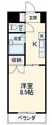 名鉄豊田線 黒笹駅 徒歩4分の賃貸マンション 1階1Kの間取り