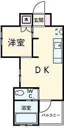 名鉄豊田線 浄水駅 徒歩5分の賃貸マンション 2階1Kの間取り