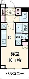 JR山手線 目黒駅 徒歩1分の賃貸マンション 6階ワンルームの間取り
