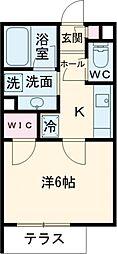 都営浅草線 高輪台駅 徒歩5分の賃貸マンション 2階1Kの間取り