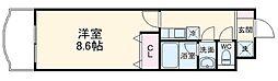 JR総武線 千葉駅 徒歩14分の賃貸マンション 2階1Kの間取り