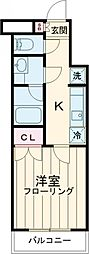 西武池袋線 石神井公園駅 徒歩7分の賃貸マンション 2階1Kの間取り