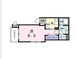 東急田園都市線 桜新町駅 徒歩10分の賃貸アパート 1階1Kの間取り