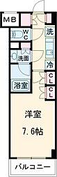 ザ・パークハビオ柿の木坂 1階1Kの間取り