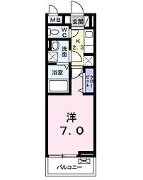 京成本線 公津の杜駅 徒歩15分の賃貸アパート 3階1Kの間取り