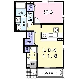 JR川越線 南古谷駅 徒歩25分の賃貸アパート 1階1LDKの間取り