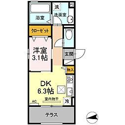 仮)D-room東田町 1階1DKの間取り