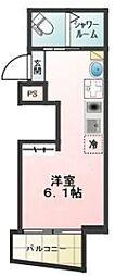 都電荒川線 梶原駅 徒歩2分の賃貸アパート 1階ワンルームの間取り