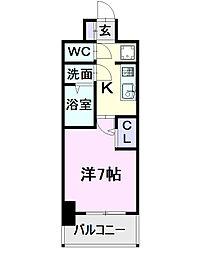 名古屋市営東山線 亀島駅 徒歩2分の賃貸マンション 3階1Kの間取り