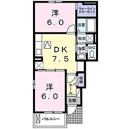 京成本線 京成成田駅 バス30分 旧平下車 徒歩10分の賃貸アパート 1階2DKの間取り