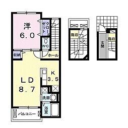 ニュータウン 3階1LDKの間取り
