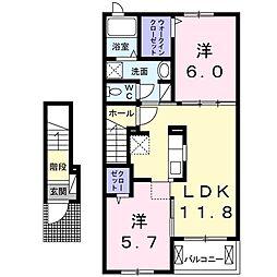 京成本線 志津駅 徒歩12分の賃貸アパート 2階2LDKの間取り