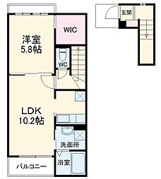 JR上越線 沼田駅 徒歩28分の賃貸アパート 2階1LDKの間取り