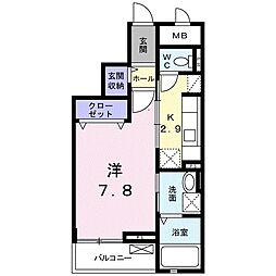 JR高崎線 高崎駅 徒歩18分の賃貸マンション 3階1Kの間取り