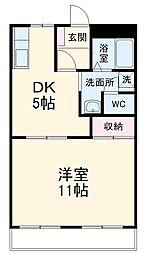 名鉄名古屋本線 美合駅 徒歩17分の賃貸アパート 2階1DKの間取り