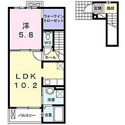 JR東海道本線 新所原駅 徒歩15分の賃貸アパート 2階1LDKの間取り