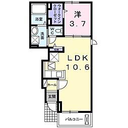 京成本線 勝田台駅 徒歩14分の賃貸アパート 1階1LDKの間取り