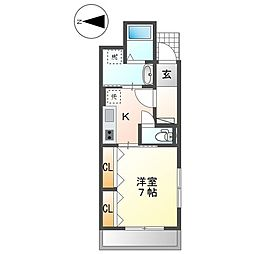 名古屋市営東山線 中村公園駅 徒歩4分の賃貸アパート 1階1Kの間取り