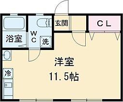 京王線 高幡不動駅 徒歩10分の賃貸アパート 2階ワンルームの間取り
