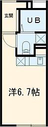 東武東上線 大山駅 徒歩5分の賃貸マンション 2階ワンルームの間取り