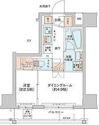 アジールコート新高円寺 2階1DKの間取り