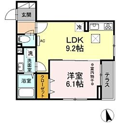 JR中央線 豊田駅 徒歩25分の賃貸アパート 1階1LDKの間取り
