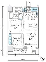 リビオメゾン大崎 13階2LDKの間取り