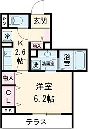 京王線 府中駅 徒歩3分の賃貸アパート 1階1Kの間取り