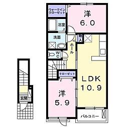 JR成田線 下総橘駅 7.2kmの賃貸アパート 2階2LDKの間取り