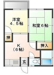 秋本ハイツ B 2階2DKの間取り