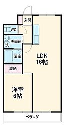 シャンティービル 3階2LDKの間取り
