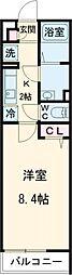 JR横浜線 町田駅 徒歩11分の賃貸マンション 2階1Kの間取り