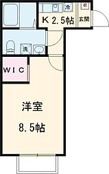 京王線 東府中駅 徒歩9分の賃貸アパート 1階1Kの間取り