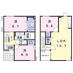 JR飯田線 船町駅 徒歩8分の賃貸アパート 1階3LDKの間取り