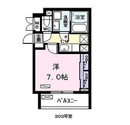 名古屋市営名港線 日比野駅 徒歩17分の賃貸アパート 3階1Kの間取り