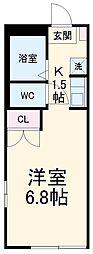 レジデンス扇 1階ワンルームの間取り
