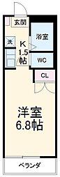レジデンス扇 2階ワンルームの間取り