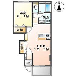 JR高崎線 本庄駅 3.6kmの賃貸アパート 1階1LDKの間取り