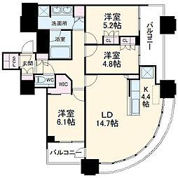東急東横線 武蔵小杉駅 徒歩1分の賃貸マンション 27階3LDKの間取り