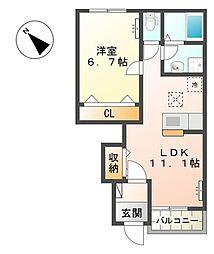 湘南新宿ライン高海 吹上駅 徒歩15分の賃貸アパート 1階1LDKの間取り
