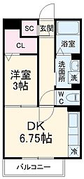 タウンコート上木崎 2階1DKの間取り