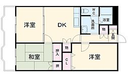 JR成田線 成田駅 徒歩10分の賃貸マンション 3階3DKの間取り
