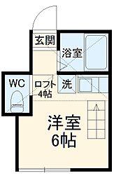 ユナイト田浦フローリアン 1階ワンルームの間取り