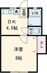 ドーム多摩 N棟 1階1DKの間取り