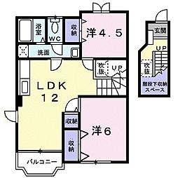 JR高崎線 本庄駅 徒歩17分の賃貸アパート 2階2LDKの間取り