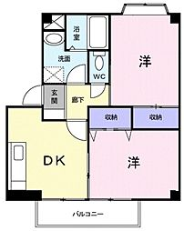 JR高崎線 本庄駅 徒歩17分の賃貸アパート 2階2DKの間取り